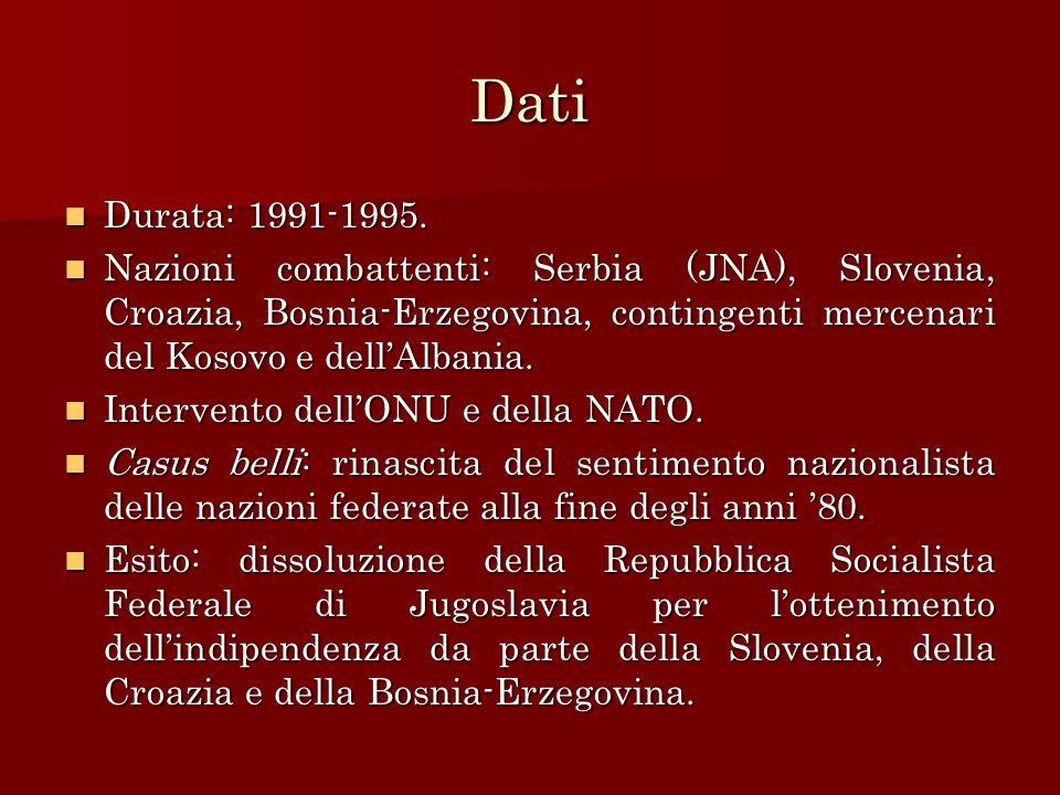 Dati Durata: 1991-1995. Nazioni combattenti: Serbia (JNA), Slovenia, Croazia, Bosnia-Erzegovina, contingenti mercenari del Kosovo e dell'Albania.