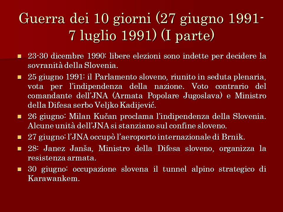 Guerra dei 10 giorni (27 giugno 1991-7 luglio 1991) (I parte)
