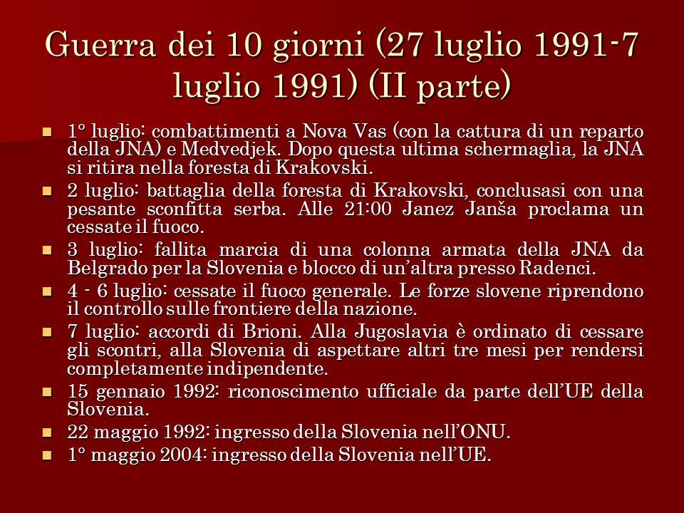 Guerra dei 10 giorni (27 luglio 1991-7 luglio 1991) (II parte)