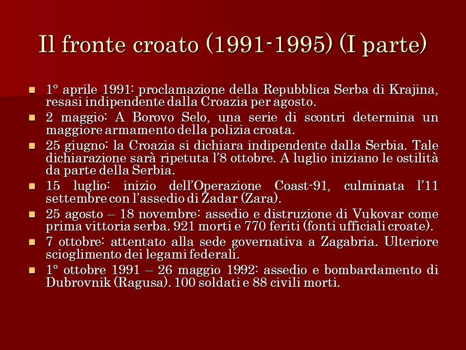 Il fronte croato (1991-1995) (I parte)