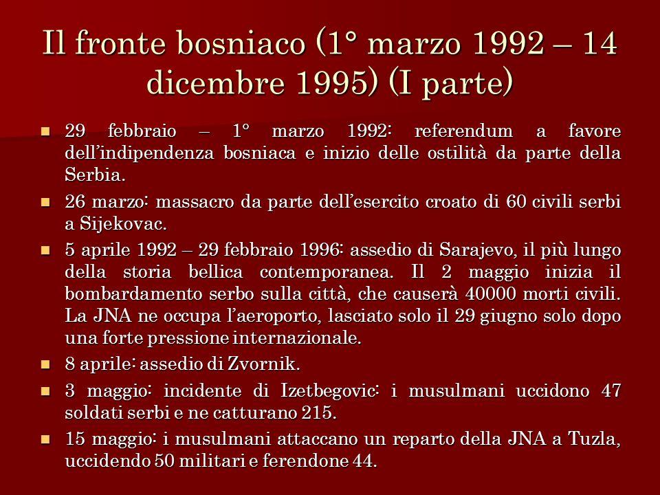 Il fronte bosniaco (1° marzo 1992 – 14 dicembre 1995) (I parte)