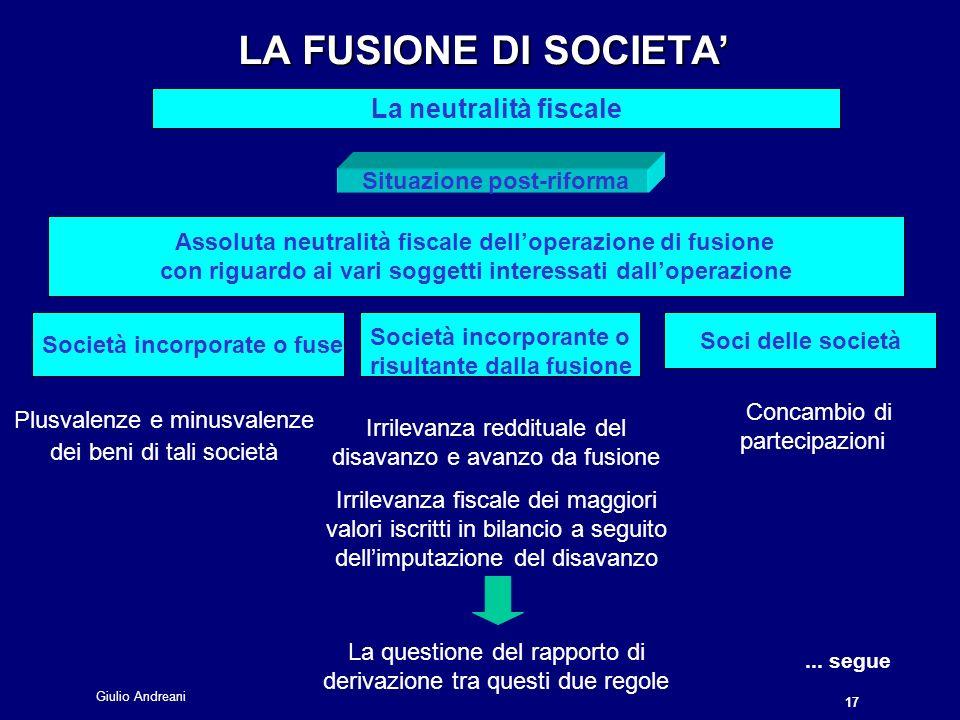 LA FUSIONE DI SOCIETA' La neutralità fiscale Situazione post-riforma