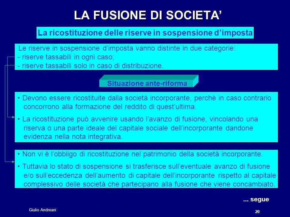 LA FUSIONE DI SOCIETA' La ricostituzione delle riserve in sospensione d'imposta.