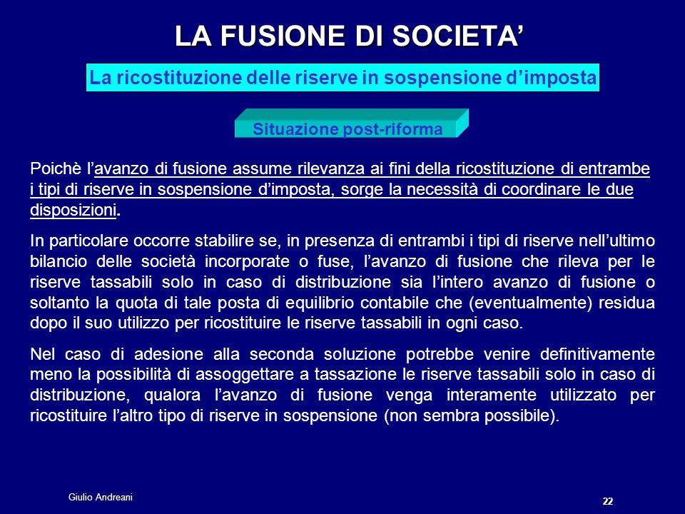 LA FUSIONE DI SOCIETA' La ricostituzione delle riserve in sospensione d'imposta. Situazione post-riforma.