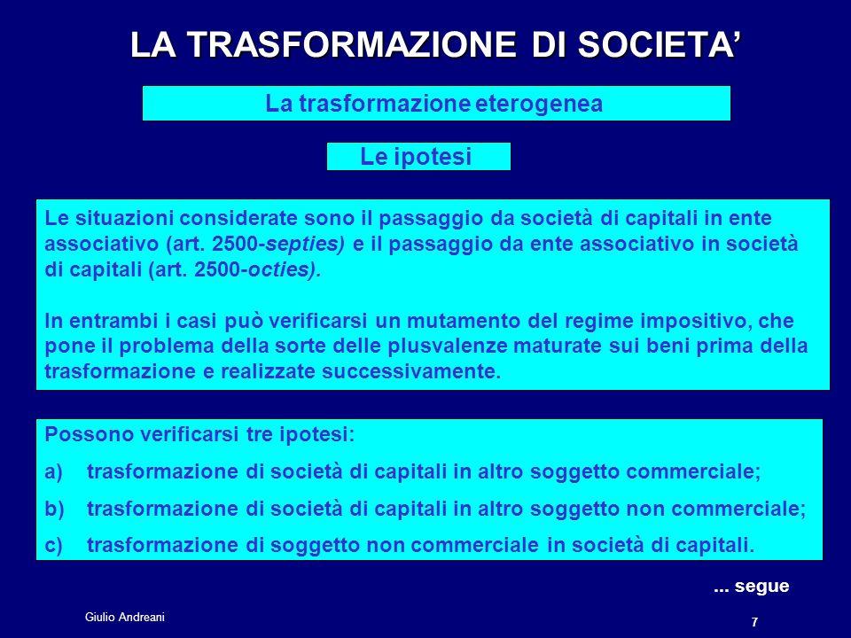 LA TRASFORMAZIONE DI SOCIETA'