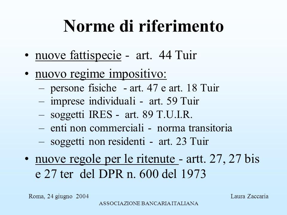 Norme di riferimento nuove fattispecie - art. 44 Tuir