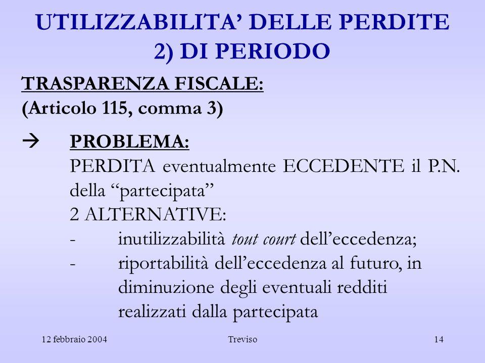 UTILIZZABILITA' DELLE PERDITE 2) DI PERIODO