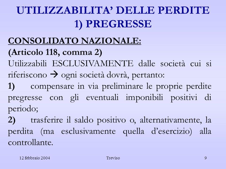 UTILIZZABILITA' DELLE PERDITE 1) PREGRESSE
