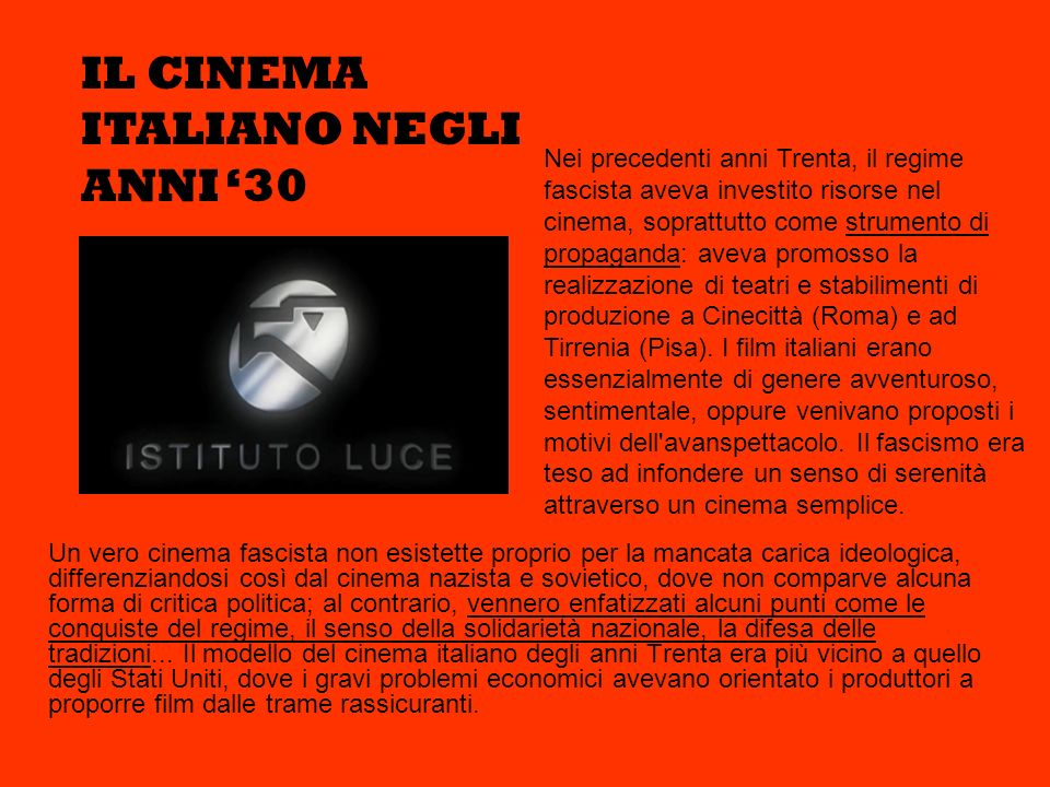 IL CINEMA ITALIANO NEGLI ANNI '30