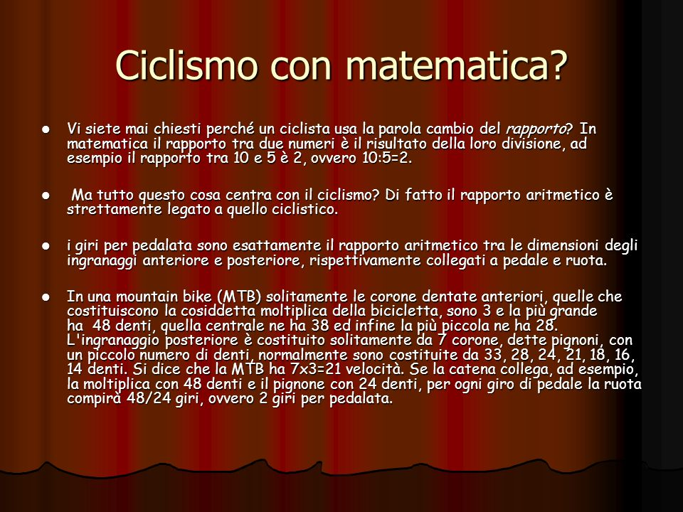 Ciclismo con matematica