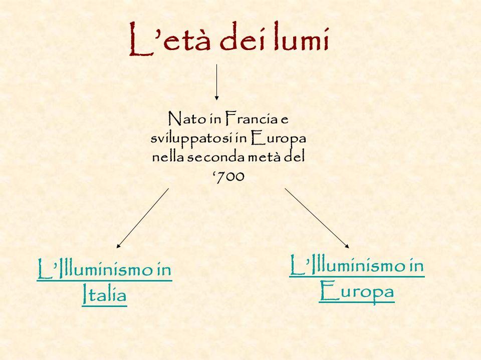 L'età dei lumi L'Illuminismo in Europa L'Illuminismo in Italia