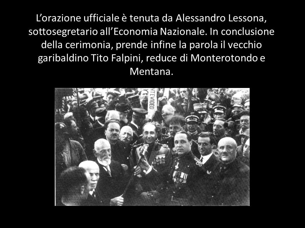 L'orazione ufficiale è tenuta da Alessandro Lessona, sottosegretario all'Economia Nazionale.