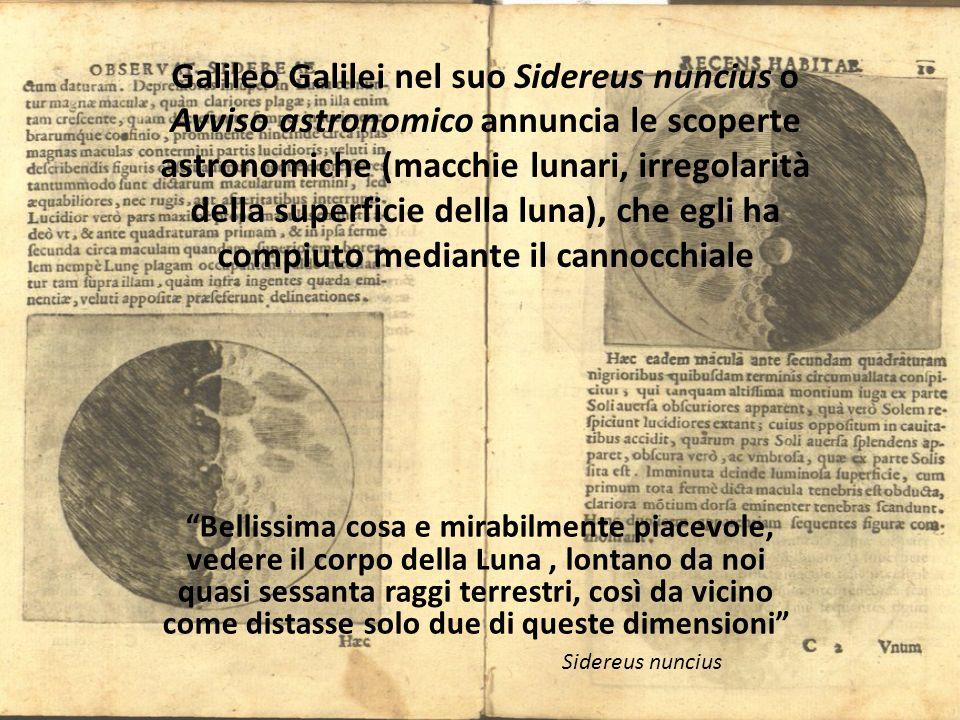Galileo Galilei nel suo Sidereus nuncius o Avviso astronomico annuncia le scoperte astronomiche (macchie lunari, irregolarità della superficie della luna), che egli ha compiuto mediante il cannocchiale