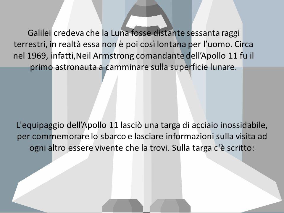 Galilei credeva che la Luna fosse distante sessanta raggi terrestri, in realtà essa non è poi così lontana per l'uomo. Circa nel 1969, infatti,Neil Armstrong comandante dell'Apollo 11 fu il primo astronauta a camminare sulla superficie lunare.