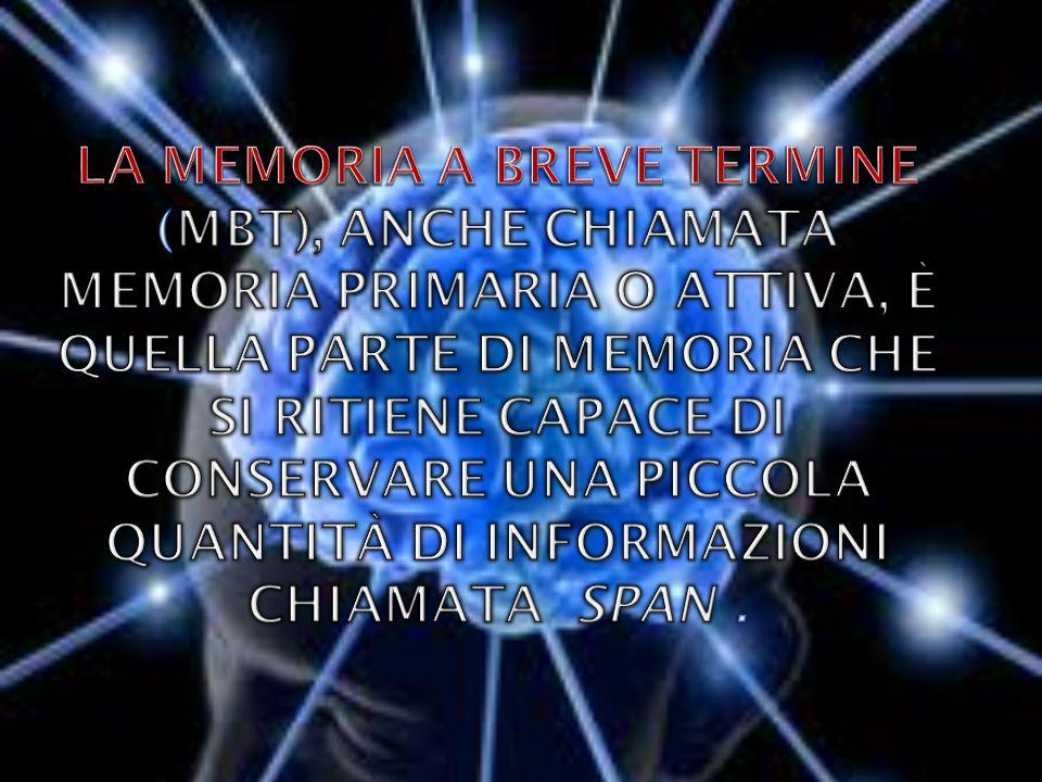 La memoria a breve termine (MBT), anche chiamata memoria primaria o attiva, è quella parte di memoria che si ritiene capace di conservare una piccola quantità di informazioni chiamata span .