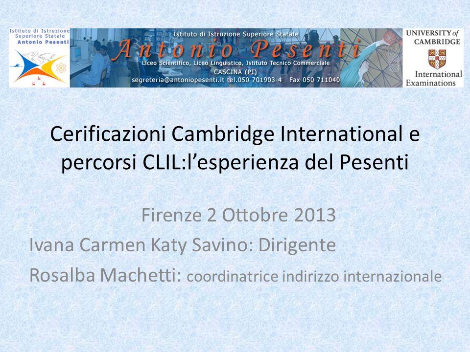Cerificazioni Cambridge International e percorsi CLIL:l'esperienza del Pesenti