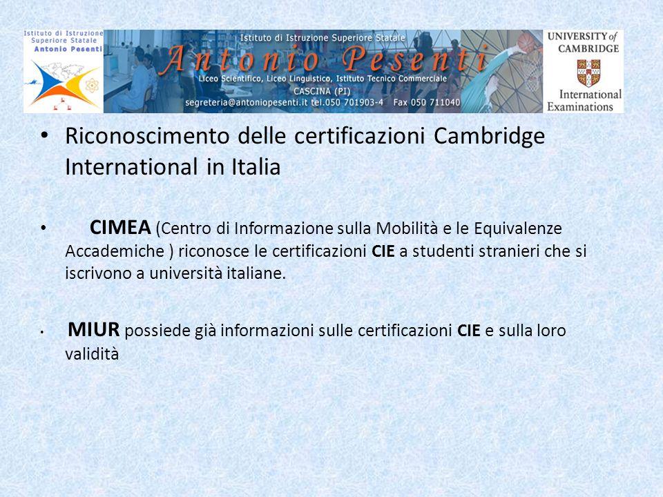 Riconoscimento delle certificazioni Cambridge International in Italia