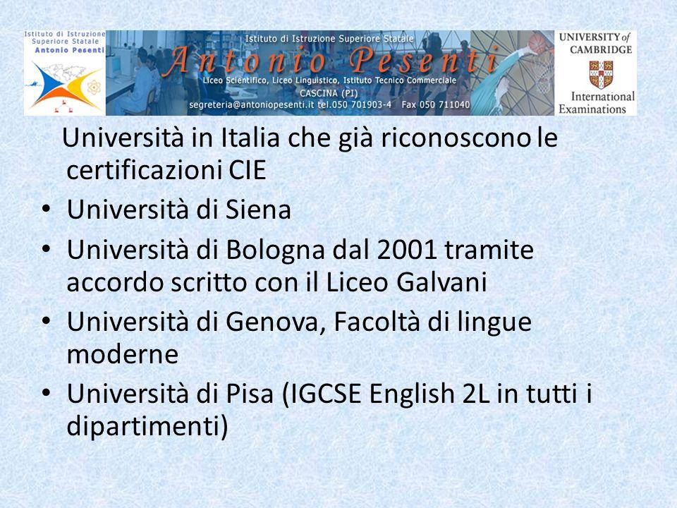 Università in Italia che già riconoscono le certificazioni CIE