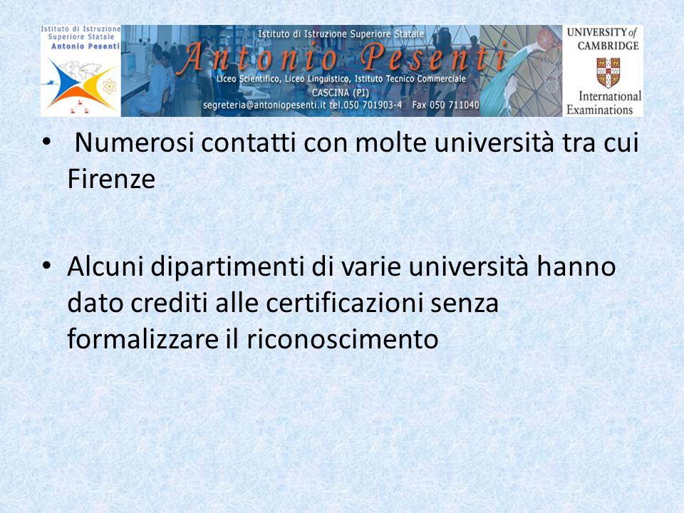 Numerosi contatti con molte università tra cui Firenze