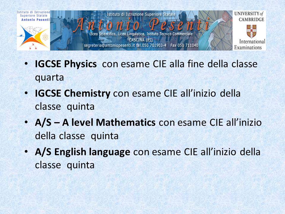 IGCSE Physics con esame CIE alla fine della classe quarta