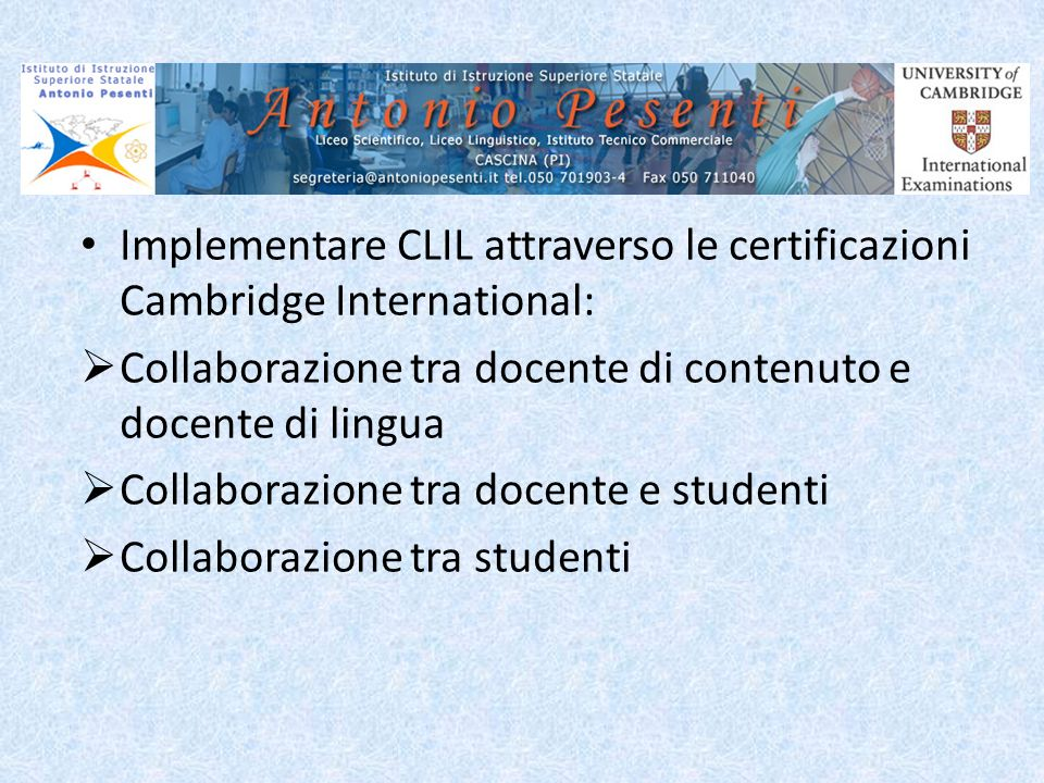 Implementare CLIL attraverso le certificazioni Cambridge International: