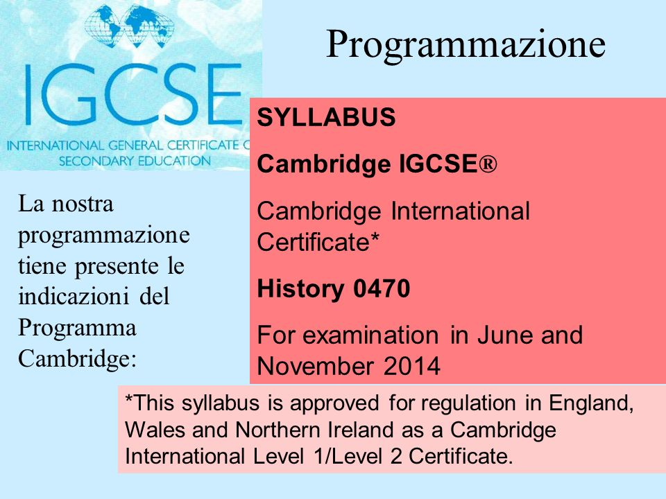 Programmazione SYLLABUS Cambridge IGCSE®