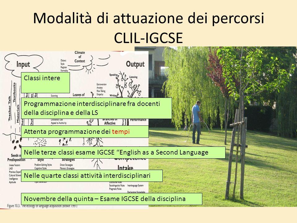 Modalità di attuazione dei percorsi CLIL-IGCSE