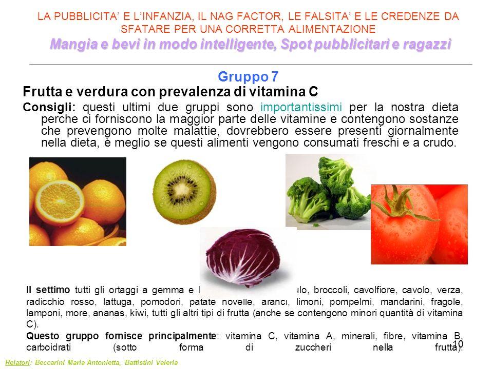 Frutta e verdura con prevalenza di vitamina C