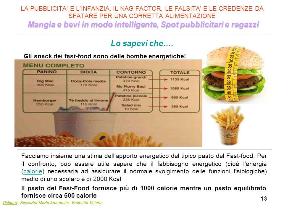 Gli snack dei fast-food sono delle bombe energetiche!