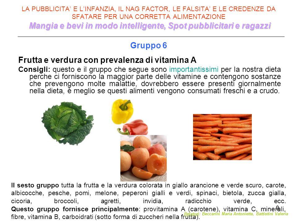 Frutta e verdura con prevalenza di vitamina A