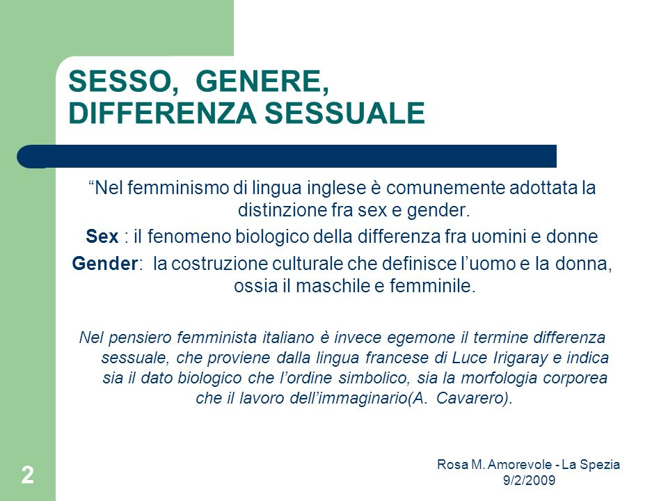 SESSO, GENERE, DIFFERENZA SESSUALE
