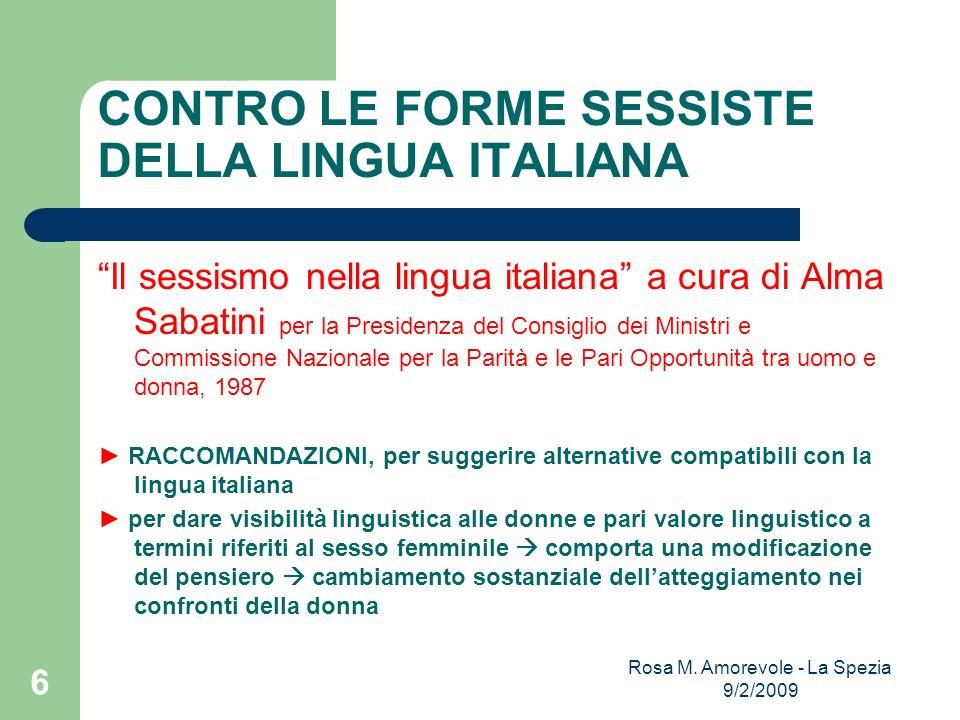 CONTRO LE FORME SESSISTE DELLA LINGUA ITALIANA