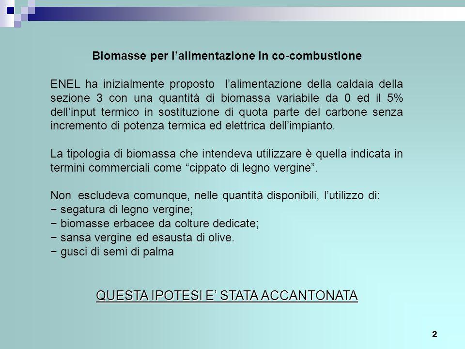 Biomasse per l'alimentazione in co-combustione