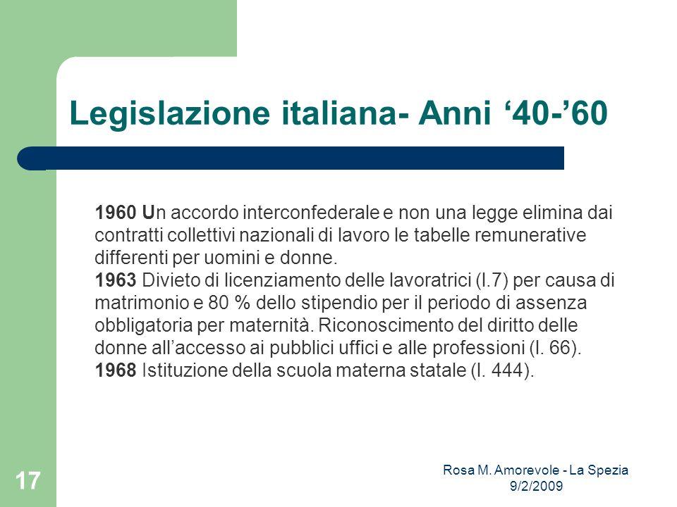 Legislazione italiana- Anni '40-'60