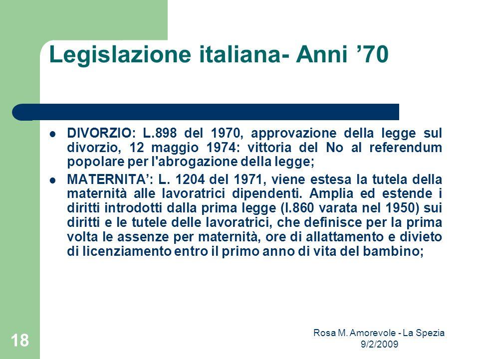 Legislazione italiana- Anni '70
