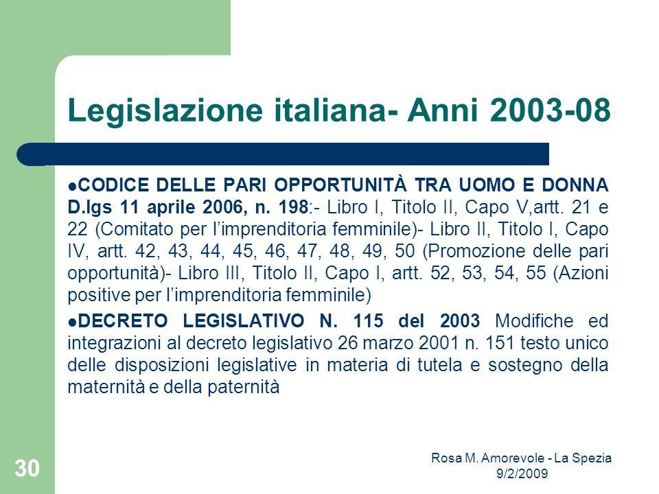 Legislazione italiana- Anni 2003-08