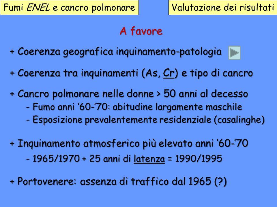 A favore + Coerenza geografica inquinamento-patologia