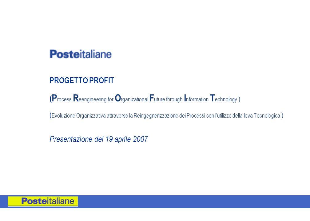 PROGETTO PROFIT (Process Reengineering for Organizational Future through Information Technology ) (Evoluzione Organizzativa attraverso la Reingegnerizzazione dei Processi con l'utilizzo della leva Tecnologica ) Presentazione del 19 aprile 2007