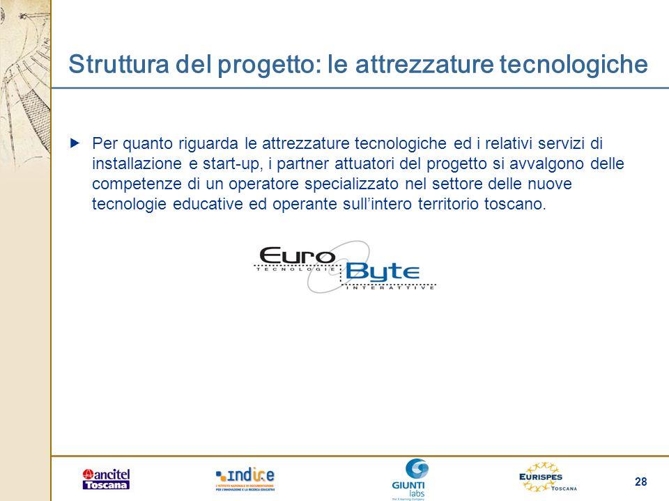 Struttura del progetto: le attrezzature tecnologiche