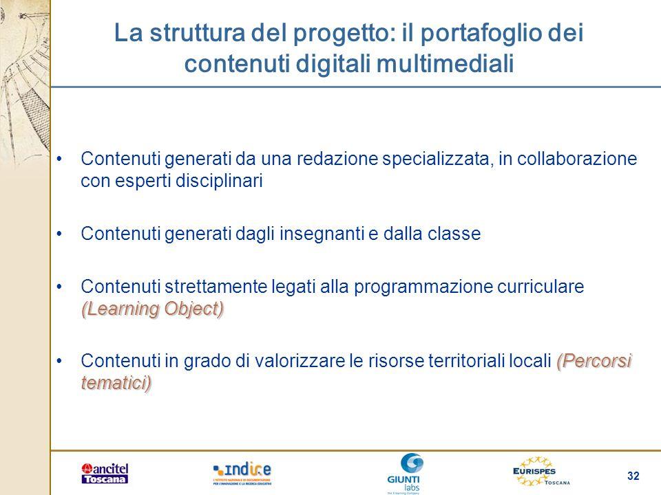 La struttura del progetto: il portafoglio dei contenuti digitali multimediali