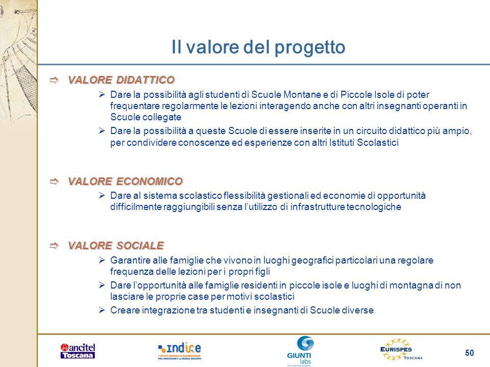 Il valore del progetto VALORE DIDATTICO VALORE ECONOMICO