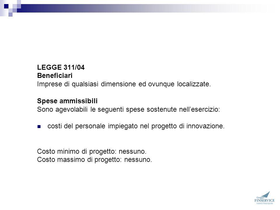 LEGGE 311/04 Beneficiari. Imprese di qualsiasi dimensione ed ovunque localizzate. Spese ammissibili.