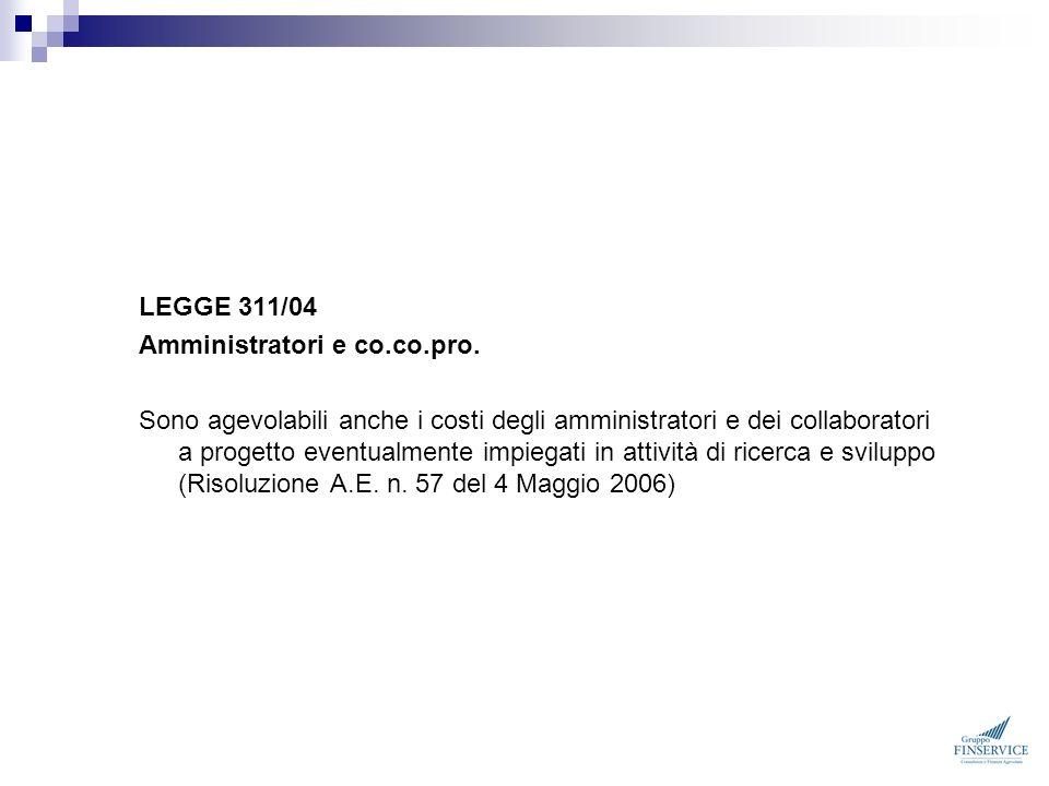 LEGGE 311/04 Amministratori e co.co.pro.
