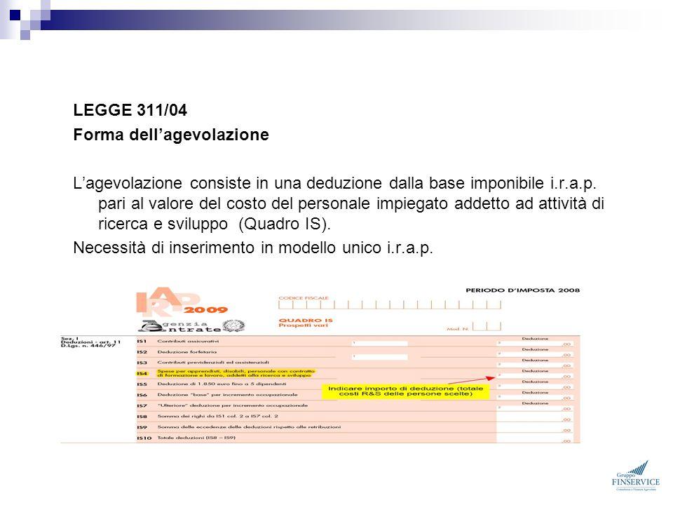 LEGGE 311/04 Forma dell'agevolazione.