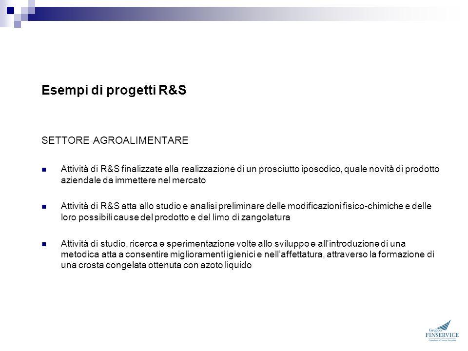 Esempi di progetti R&S SETTORE AGROALIMENTARE