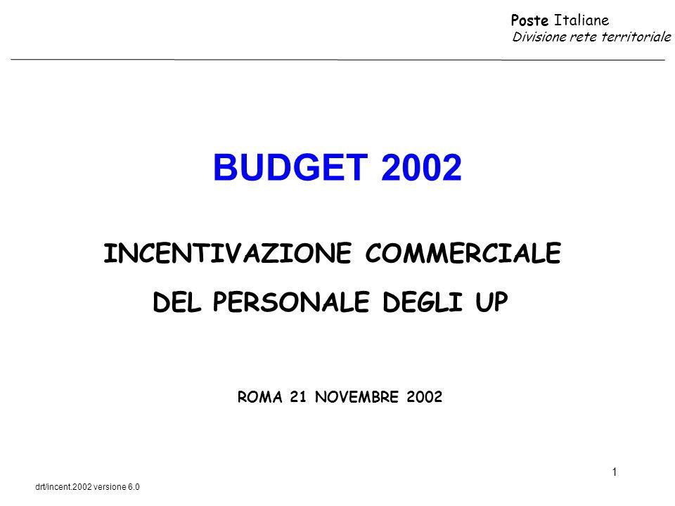 BUDGET 2002 INCENTIVAZIONE COMMERCIALE DEL PERSONALE DEGLI UP