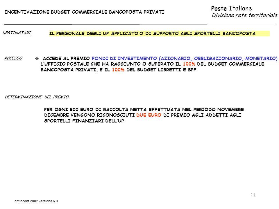 INCENTIVAZIONE BUDGET COMMERCIALE BANCOPOSTA PRIVATI