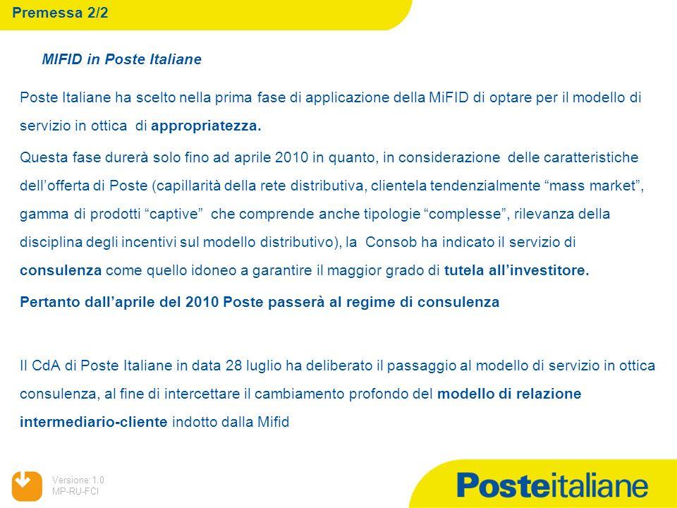Premessa 2/2 MIFID in Poste Italiane.