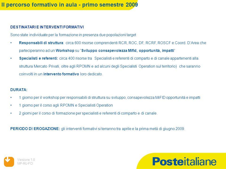 Il percorso formativo in aula - primo semestre 2009