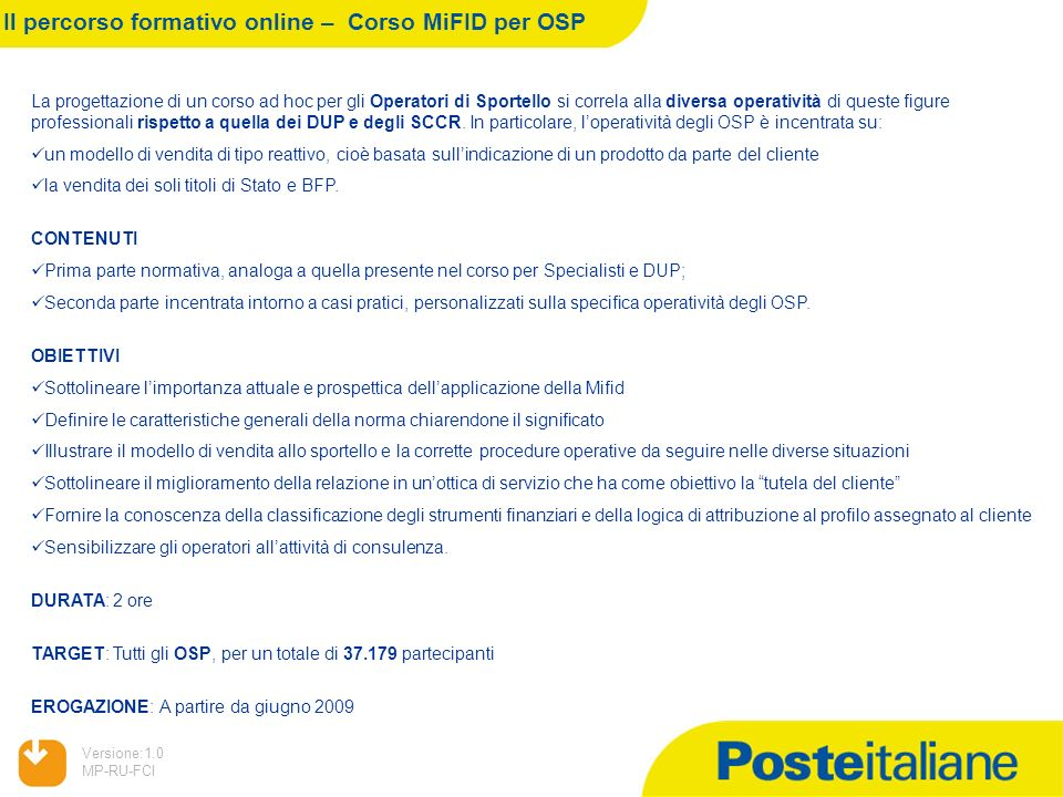 Il percorso formativo online – Corso MiFID per OSP